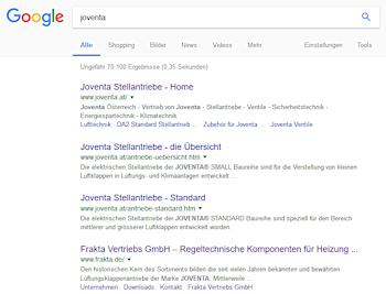 Google Suchergebnisse zum Keyword JOVENTA